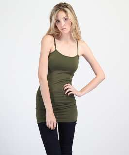 MOGAN Plain Spaghetti Strap LONG TANK TOP DRESS Basic Layering Cami