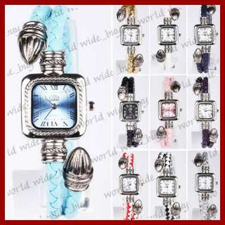 Women Leather Knitted Quartz Wrist Watch Rome Style 10 Colors