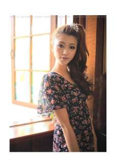Korean Womens Floral V Neck Chiffon Dress,9726R, sz S