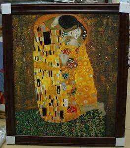 Framed The Kiss Couple in Love Gustav Klimt Repro Oil Painting Ready