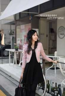 Korea Fashion Women Lovely Embroidery Pink Wool Woolen Puff Short Coat