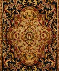 Handmade Classic Royal Black/ Beige Wool Rug (3 x 5)