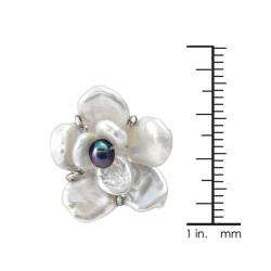 and Black Freshwater Pearl Flower Earrings (6 10 mm)