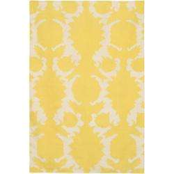 Floral Flat weave New Zealand Wool Rug (79 x 106)