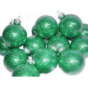 Set of 4 Emerald Green Glitter Glass Ball Christmas Ornaments 3.25