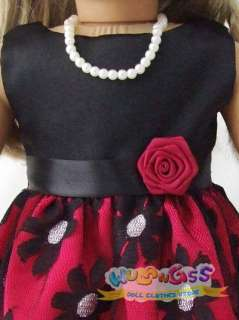 Dark Red Floral Party Dress fits 18 American Girl doll