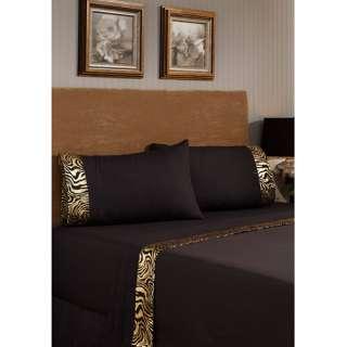 Home Fashions Metallic Printed Bling Bedding Sheet Set, Zebra Bedding
