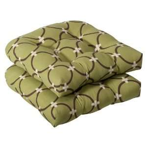 Perfect Outdoor Green/Brown Geometric Wicker Seat Cushions, 2 Pack