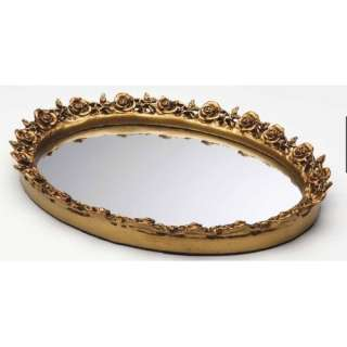 Taymor Industries Inc. Antique Oval Resin Mirror Tray Luggage