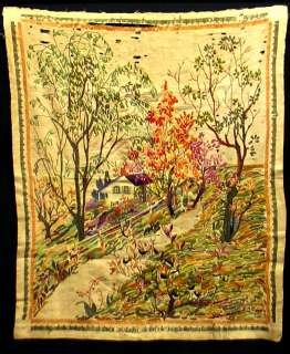 ANTIQUE LINEN EMBROIDERY NEEDLE WORK TAPESTRY HANGING
