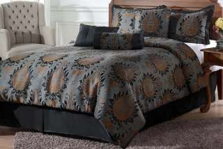 Brown Jacquard Floral Comforter Set Bed in a bag Queen Size