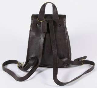 Chocolate Brown Leather Mini Backpack Daypack Drawstring Top 9960