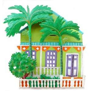 Metal Cottage Wall Hanging   Tropical Home Decor