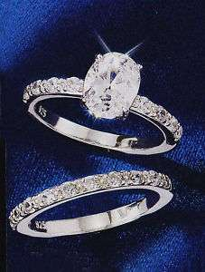 Sterling Silver Oval CZ Ring or Matching Band Ring AVON