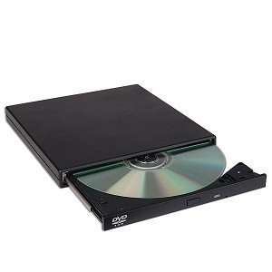 USB 2.0 16x Slim Portable External DVD ROM Drive (Black