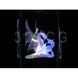 Mythical Dragons Fighting 3D Laser Etched Crystal