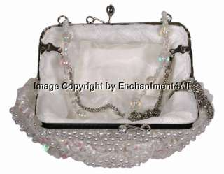 Elegant Beaded Evening Purse Clutch Handbag Bag, White
