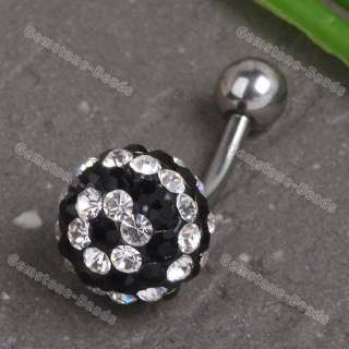 1X Black White CZ Crystal Flower Ball Belly Button Ring