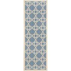 Blue/ Beige Indoor Outdoor Rug (24 x 67)