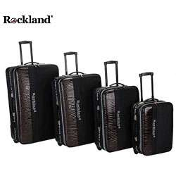 Rockland Polo Brown Crocodile 4 piece Luggage Set