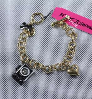 BETSEY JOHNSON Jewelry Black camera necklace bracelet earrings Ring