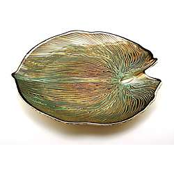 Palm Large Leaf tray Turquoise/Silver Plated by Arda Glassware