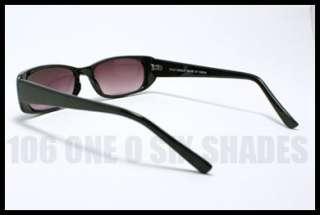 SMALL Sunglasses for Men and Women Rectangle Shape Plastic Frame BLACK
