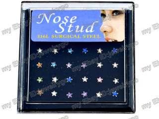 Wholesale Lots 24 Crytsal CZ Nose Stud Pin Rings Body Pierce Jewelry W