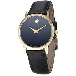 Museum Goldplated Steel Case Black Leather Strap Watch