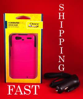 Commuter Case for Motorola Droid RAZR 4G PINK Otter Box w/ Car Charger