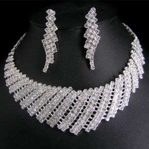 Wedding/Bridal crystal necklace earrings set S252