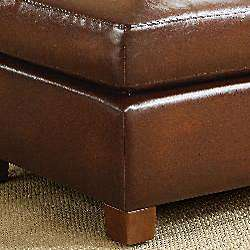Metropolitan Faux Brown Leather Chair and Ottoman Set