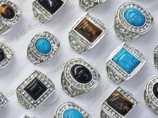 Jewelry Lots 10PCS platinum p Crystal Mens Stone Rings Gift Free Ship