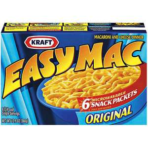 Original Microwavable Snack Packets Easy Mac Macaroni & Cheese, 6ct