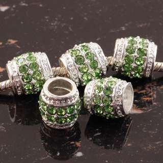 10 x Drum Light Green Crystal Silver Pt Big Hole Spacer European Beads