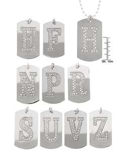 CZ Dog Tag Initials Necklace