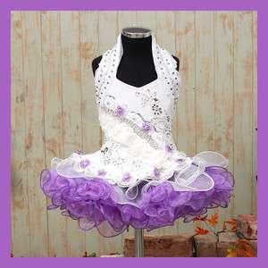 Girls Glitz Pageant Dress Purple White Size 1~10T New