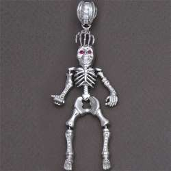 Mens 925 Sterling Silver Skull Skeleton Pendant Charm