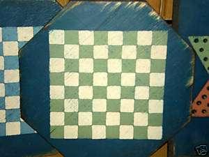 Antique Folk Art Green Checker Board Old Wood Gameboard