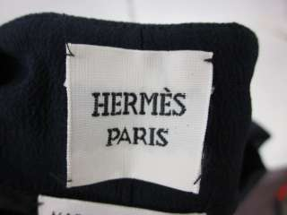 AUTH HERMES Navy Blue White Silk Pants Slacks Sz 38