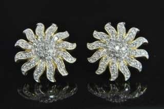 Estate Vtg 14K Gold Diamond Pave Sun Post Stud Earrings