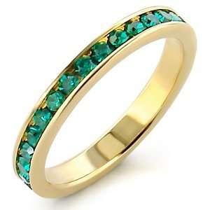 Blue Zircon Swarovski Gold Tone Ring SZ 6 Jewelry