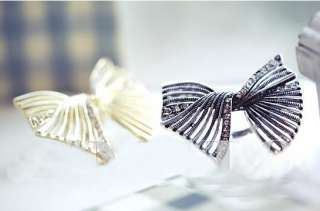 Lady Fashion Hollow out Adjustable Clear Rhinestone Bow Cocktail