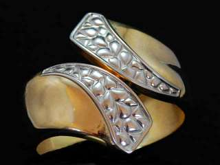 Vintage Silver/Gold Toned Hinged Cuff Bracelet 1980S