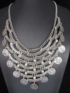 Elegant Style Tibetan Silver Rhinestone Coins Pendant Necklace Chain