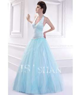 JSSHAN Beading Halter Bridal Formal Ball Long Wedding Prom Gown
