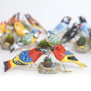 Folk Hand Carved & Painted Two Bird Family