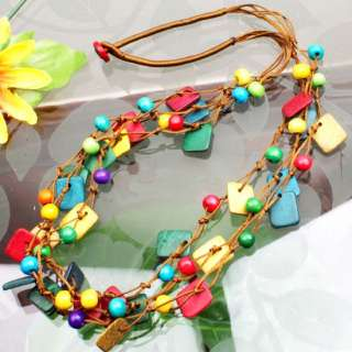 Handmade Multi color Coconut Square Beads Necklace 24L