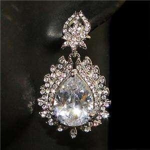 Wedding Leaf Teardrop Dangler Earring Austrian Rhinestone Crystal