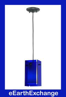 BOX Hanging PENDANT 4 Panel 9x5 CUSTOM DESIGN Blue Art Glass CEILING